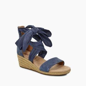UGG Trina Desert Blue Zipper Wedge Sandal Women's